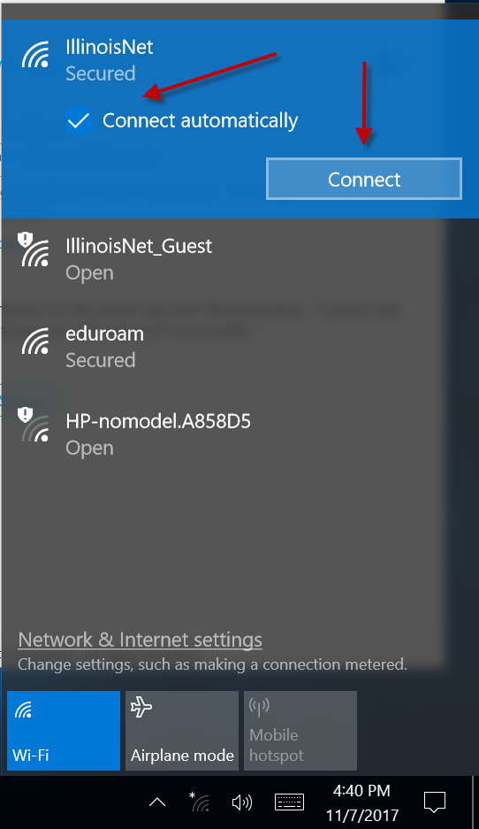 Image of IllinoisNet SSID in wireless network list with arrows pointing to the checkbox for automatic and the Connect button