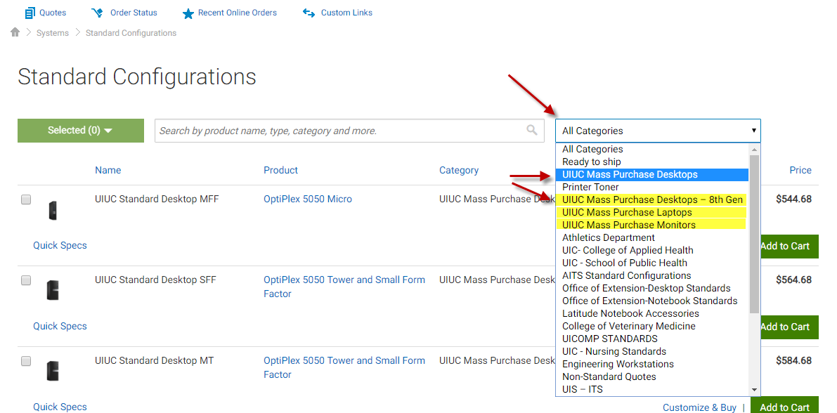 Image of Dell Standard Configuration page Category dropdown selected UIUC Mass Purchase categories highlighted