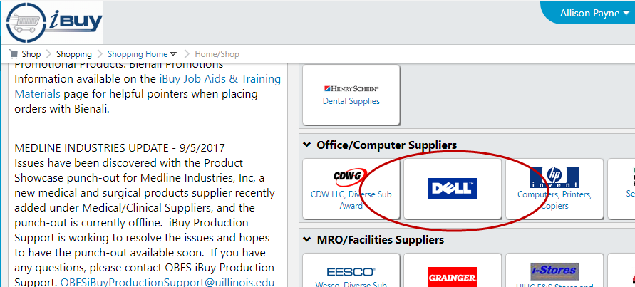 Image of iBuy dashboard Dell punchout circled