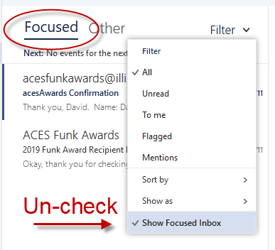 Image of Focused Inbox option in Filter menu