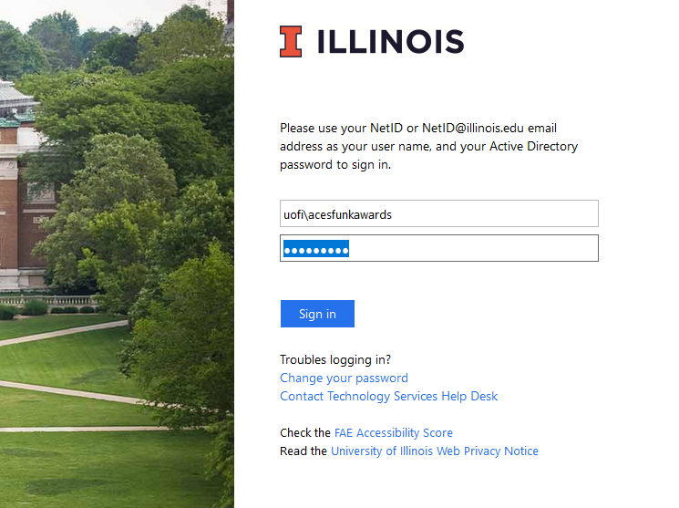 Image of username with uofi\ prepended