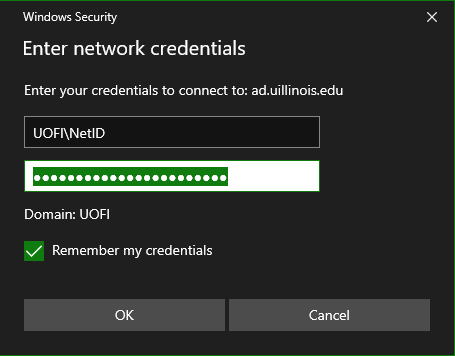 Image of Windows Credentials.