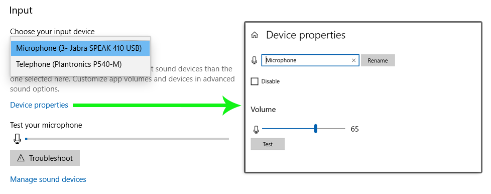Windows 10 Input Device settings and Microphone Properties.