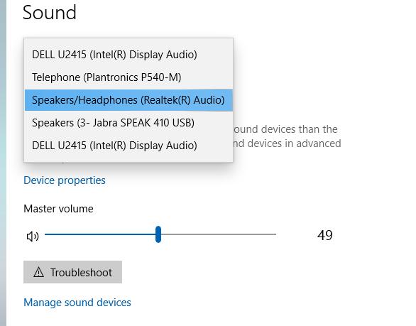 Windows 10 Output Device Settings