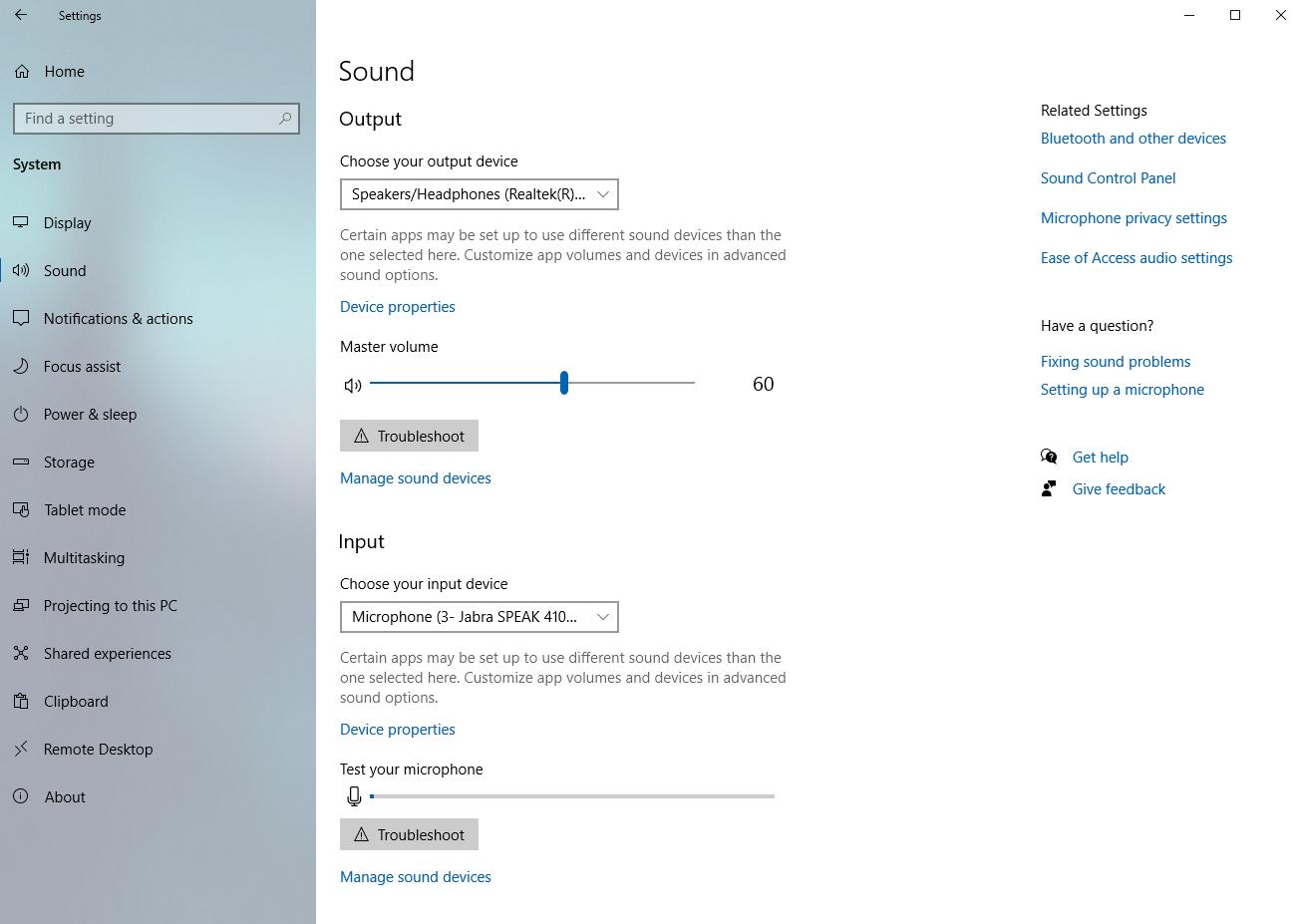 Windows 10 Sound Settings window.
