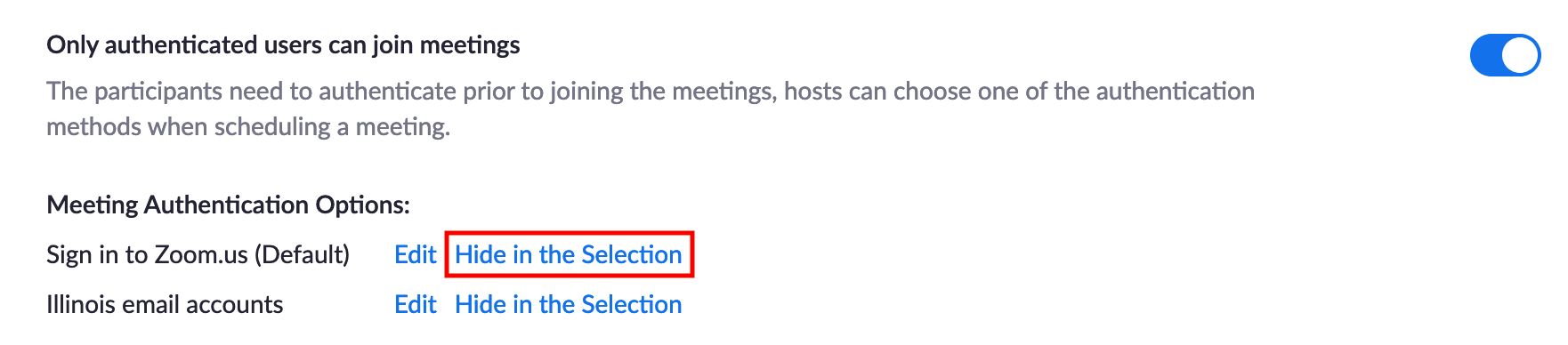 Click Hide in the selection