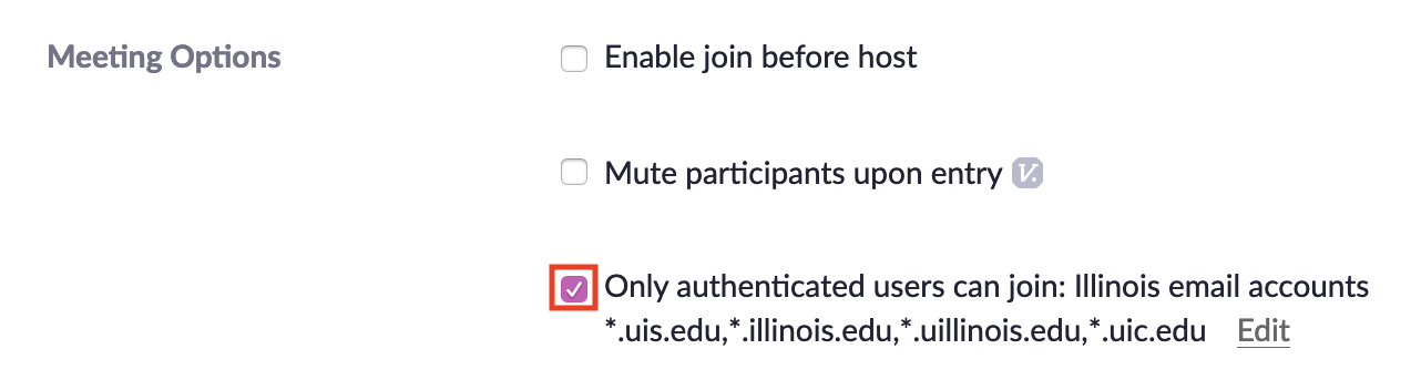 Zoom meeting Only authenticated users can join