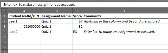 sample spreadsheet. columns read left to right: Student NetId/UIN, Assignment Name, Score, Comments