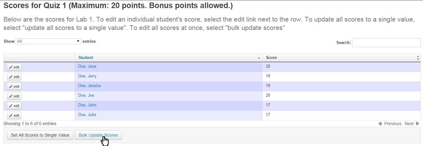 "hit the ""bulk update scores"" button at the bottom of the page"