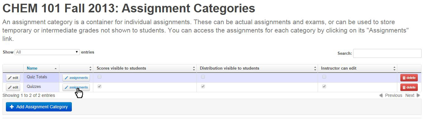 hit assignments button in Quizzes row