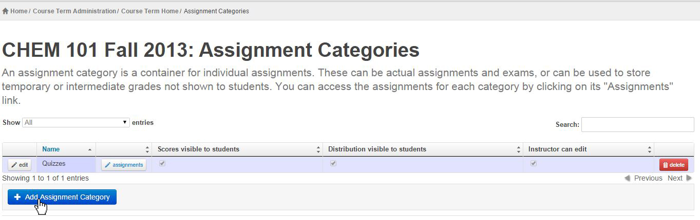 list of available assignment categories for CHEM 101 FALL 2013 - only quizzes available