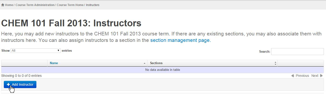 in the CHEM 101 Fall 2013: Instructors screen we select Add Instructor