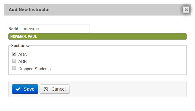 we then add the netID of our instructor and assign available sections to them