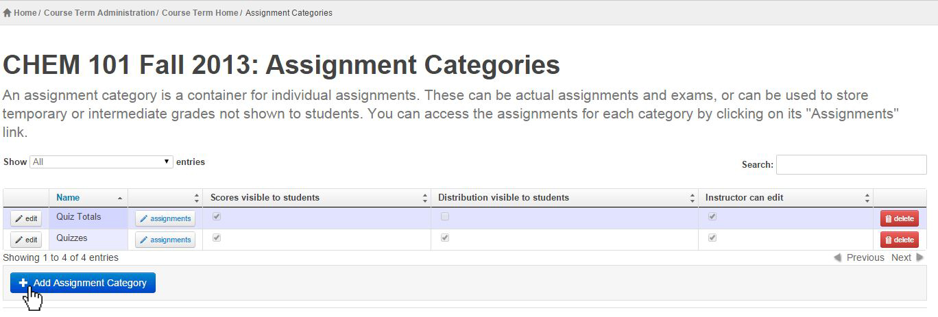 select add assignment category button