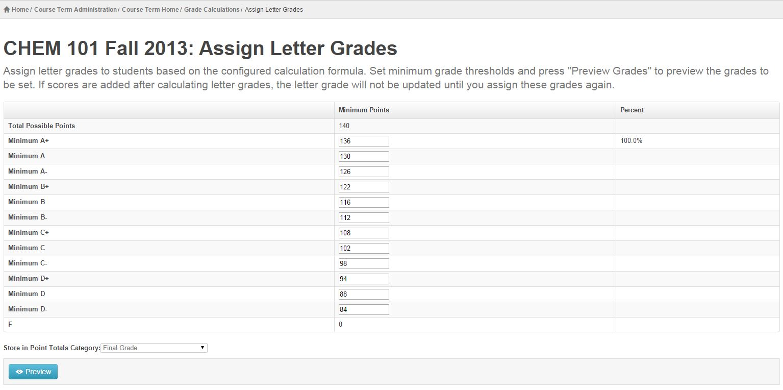 view CHEM 101 Fall 2013: Assign Letter Grades