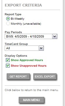 A summary of the TimeCard report options