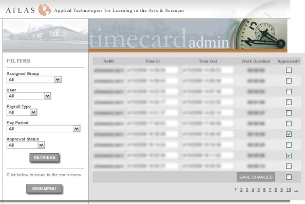A display of example TimeCare Entries