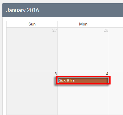 full sick day is highlighted in red to emphasize that it can be clicked to edit
