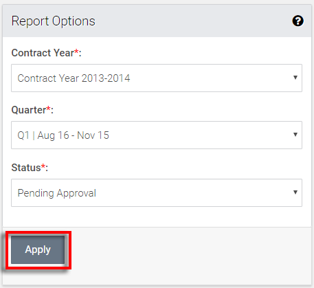 select relevant options for viewing reports