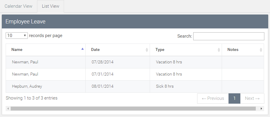 view multiple user leave in 'list view'