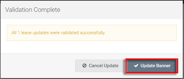 dialog box displaying 1 successful valdiation - we then hit Update Banner in that dialog box