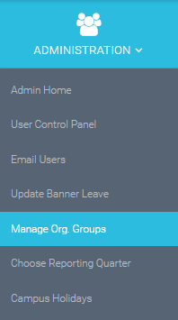 select the manage org groups option under Administration