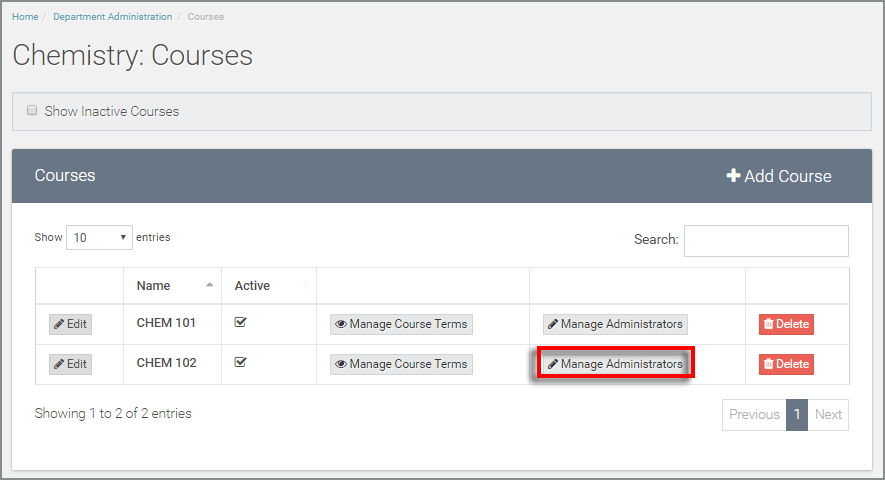 "select ""manage administrators"" for the appropriate course"