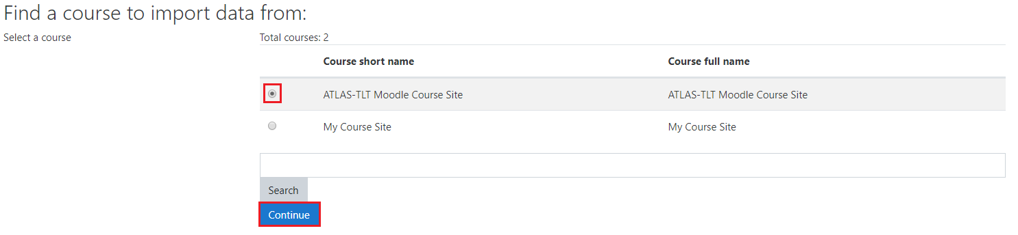 Find a course to import from
