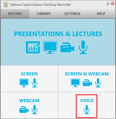 CaptureSpace desktop recorder window and select Voice screenshot