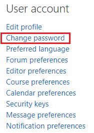 User account change password