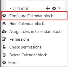 Configure calendar block