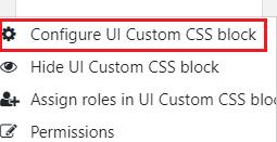 Configure UI Custom CSS Block