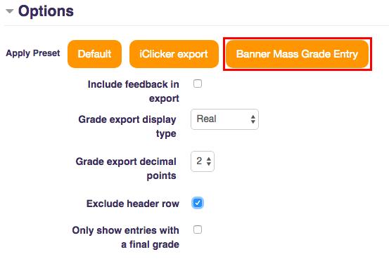 Click Banner Mass Grade Entry