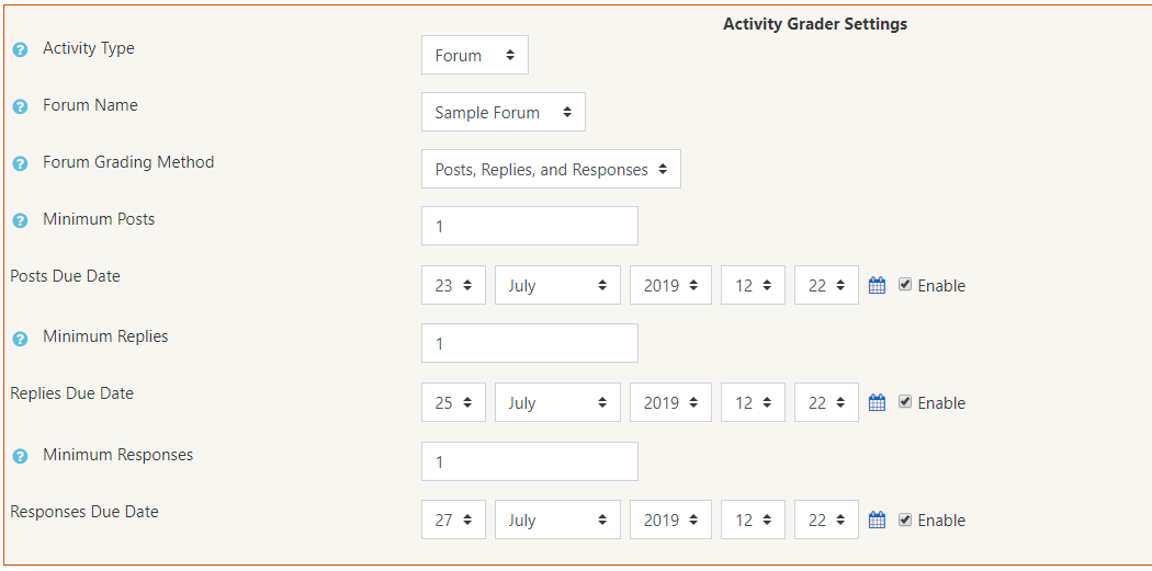 Activity grader settings box