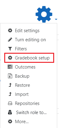 Actions menu gradebook
