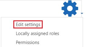 Actions menu edit settings
