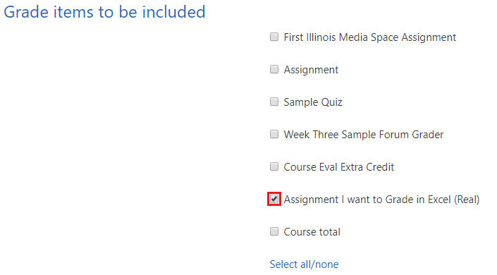 Grade items to be included excel