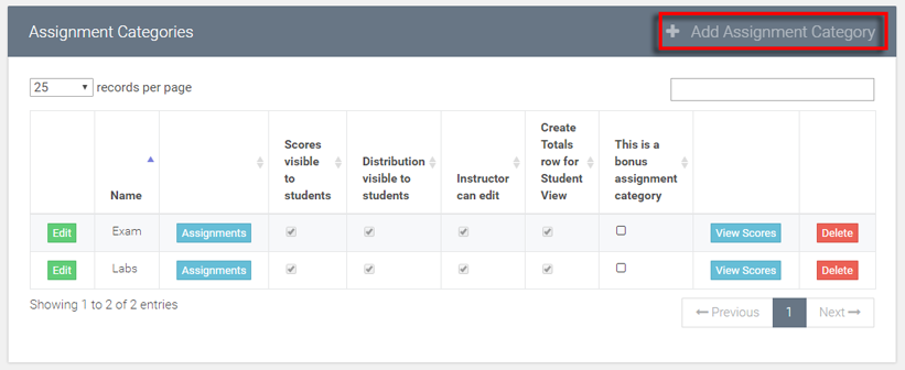 select the add assignment category option
