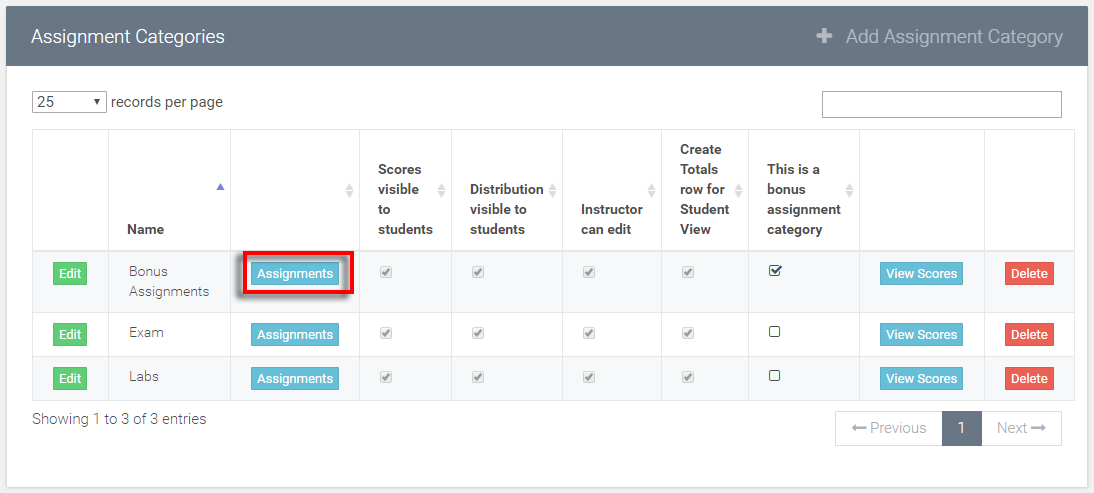 select add assignment option inside the new bonus assignment category