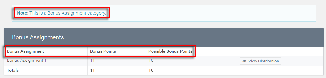 text changes adds the word bonus in front of assignments and points