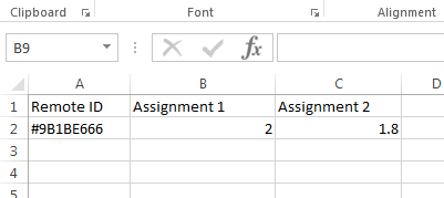 spreadsheet with remote ID and assignment