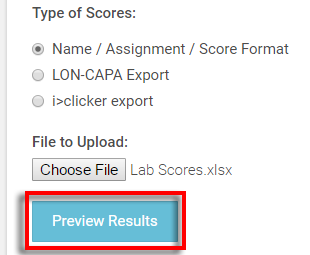 select the 'Preview Results' button