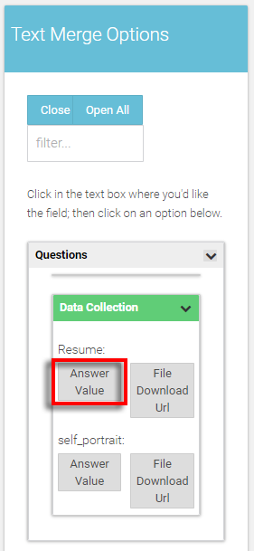 select the 'answer value' to a question with a file attachment answer value