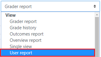 Click the drop-down menu and select User report