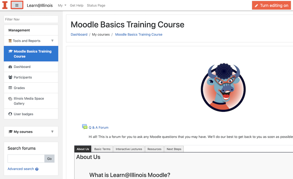 Moodle course with left menu visible