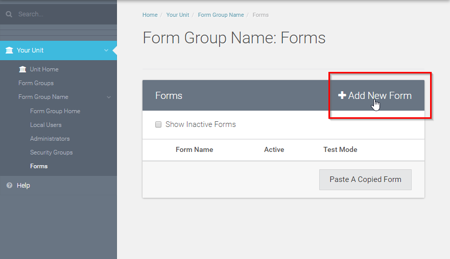 Select  +Add New Form