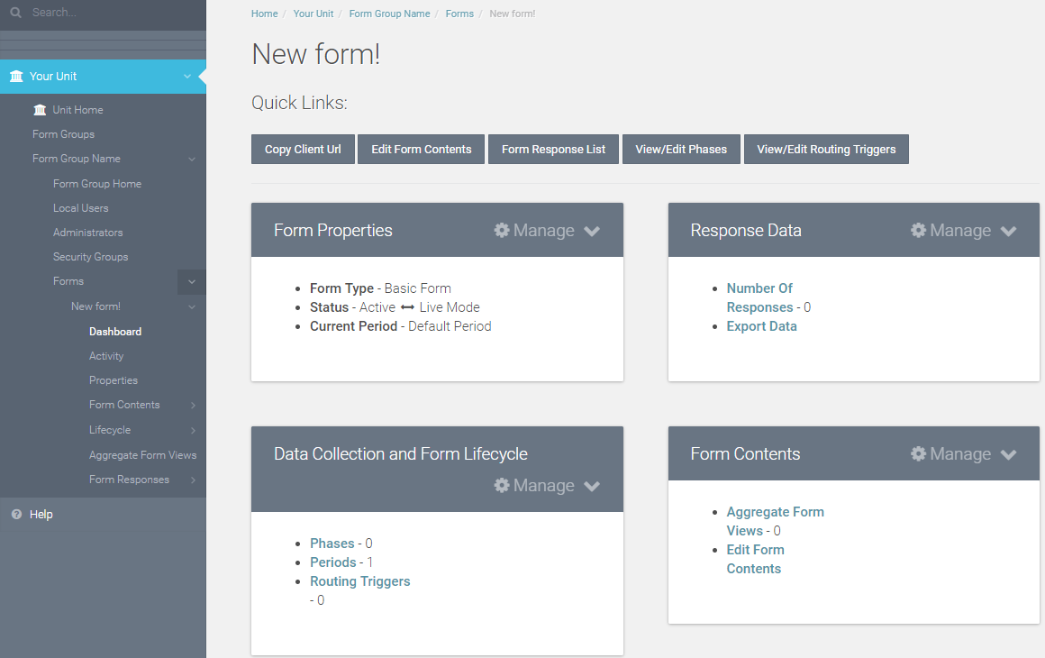"If you choose to ""Save,"" you will be redirected to the form dashboard."