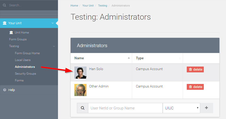 You should now see your added user in the table of administrators.