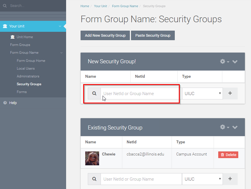 Enter the users Net ID in the text box within the desired security group.