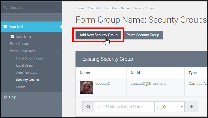 "Select ""Add New Security Group"""